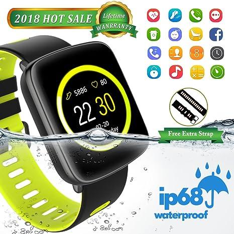 Smartwatch con Pulsómetro,Impermeable IP68 Reloj Deportiva Inteligente Pulsera Actividad Bluetooth Pulsera con Monitor de