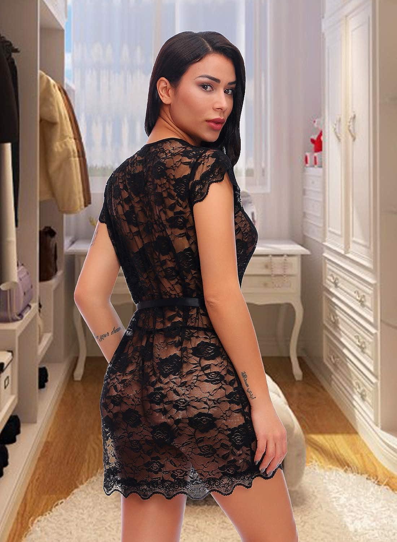 Valila Womens Lace Kimono Robe Babydoll Lingerie Mesh Nightgown