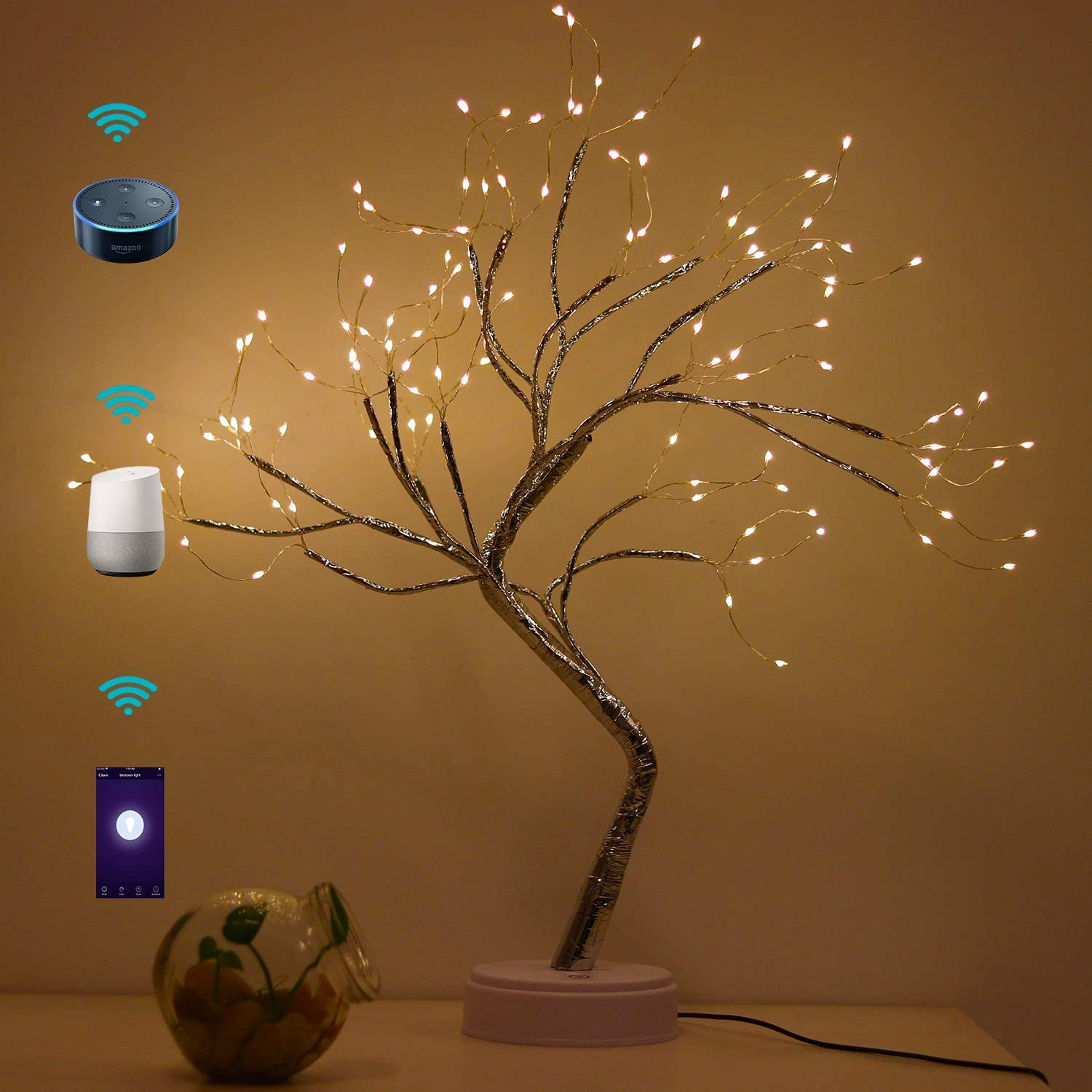 Smart Table Lamp Accent Night Light Usb Powered Copper Wire String