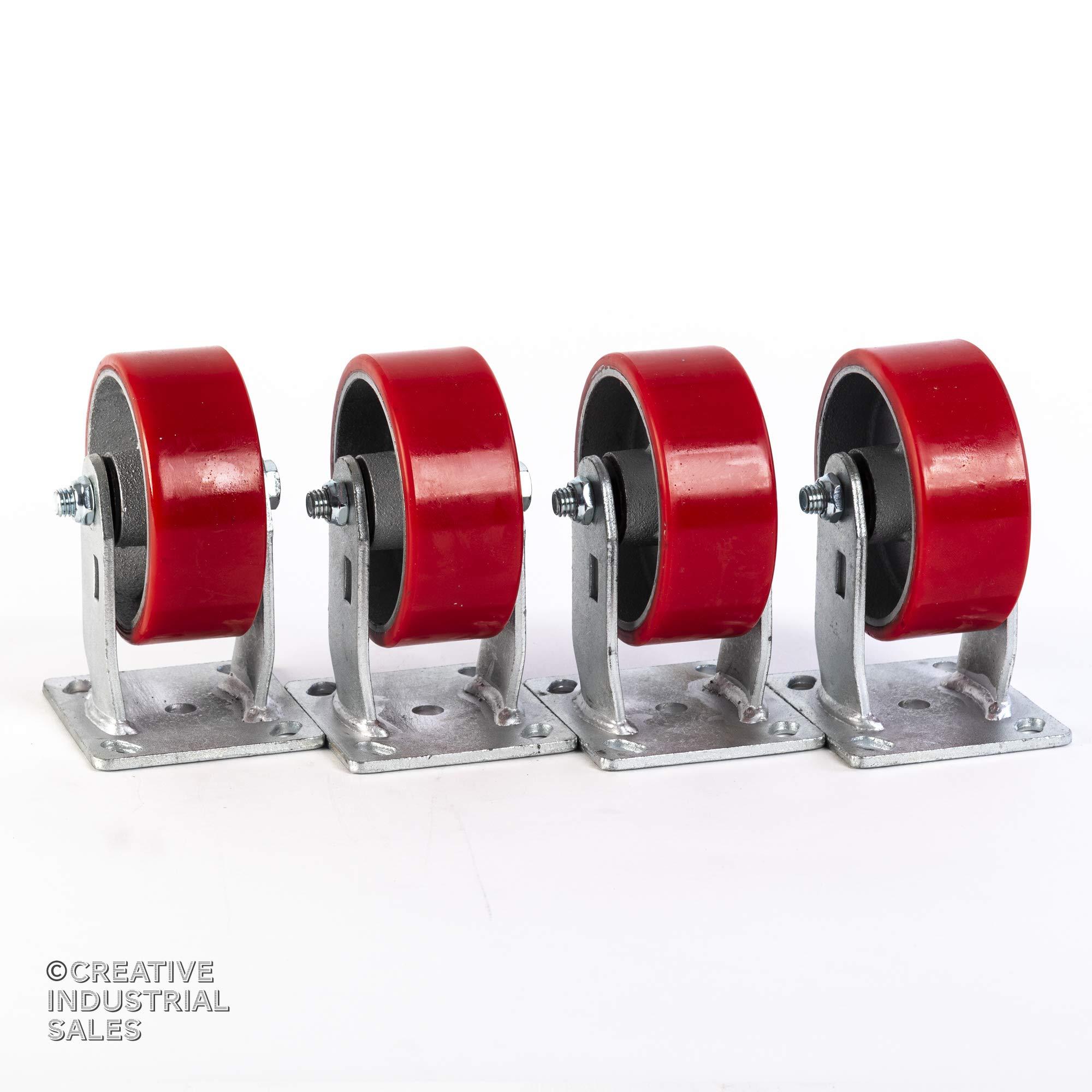5'' X 2'' Rigid Caster Heavy Duty Polyurethane Wheel on Steel Hub 1000 lb Each (4)