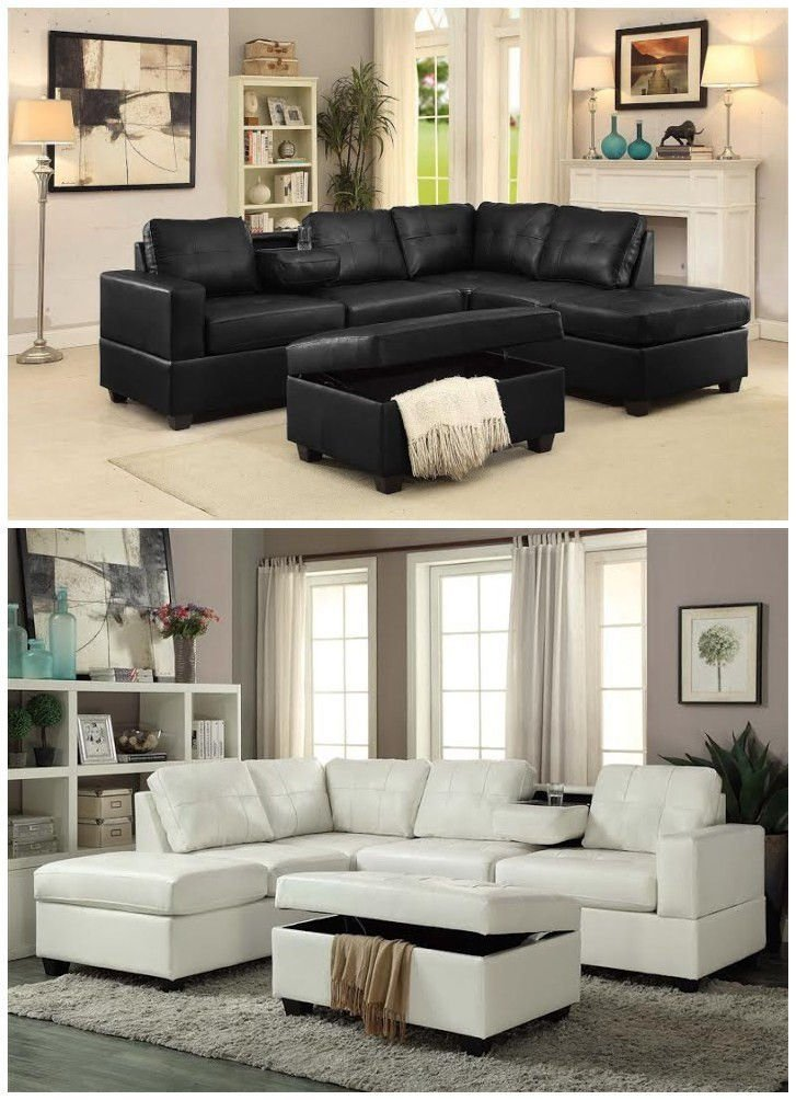GTU Furniture Pu Leather Living Room Sectional Sofa Set in Black/White/Brown/Grey/Red