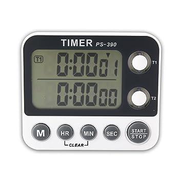 Canal de Doble Pantalla LCD Digital Portátil Reloj Alarma Temporizador