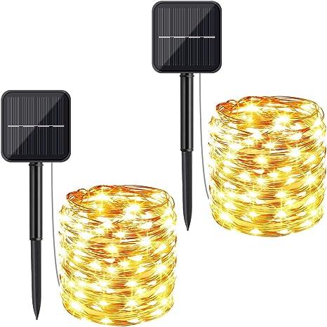 2m 200led Solar LED Lichterkette Kupferdraht Für Garten Weihnachtsbaum bE