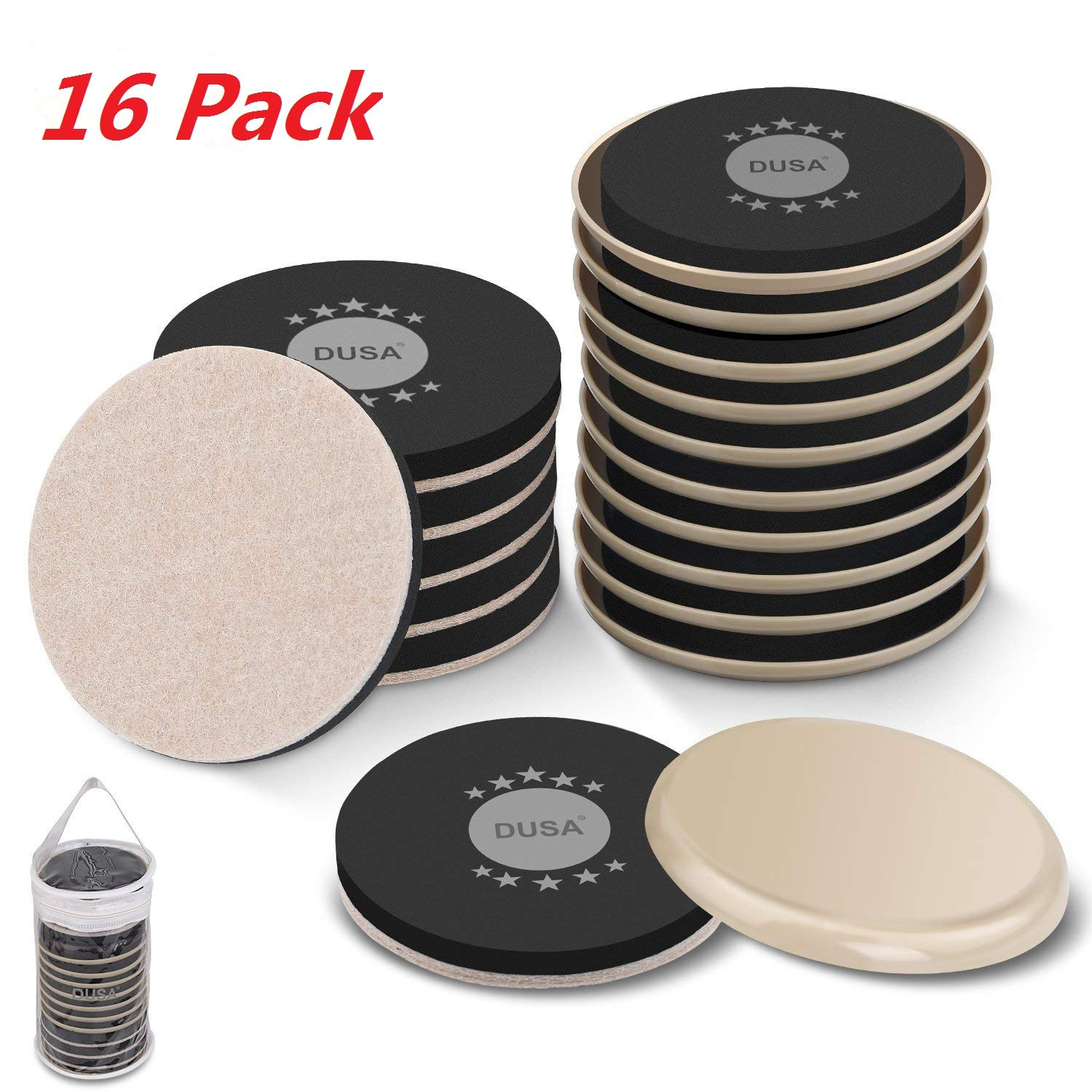 Furniture Sliders Kit (16 Piece) for Carpeted and Hard Floor Surfaces, Moving Pads, Move Heavy Furniture Quickly and Easily with Furniture Sliders - Do It Easily & Safely (Beige)