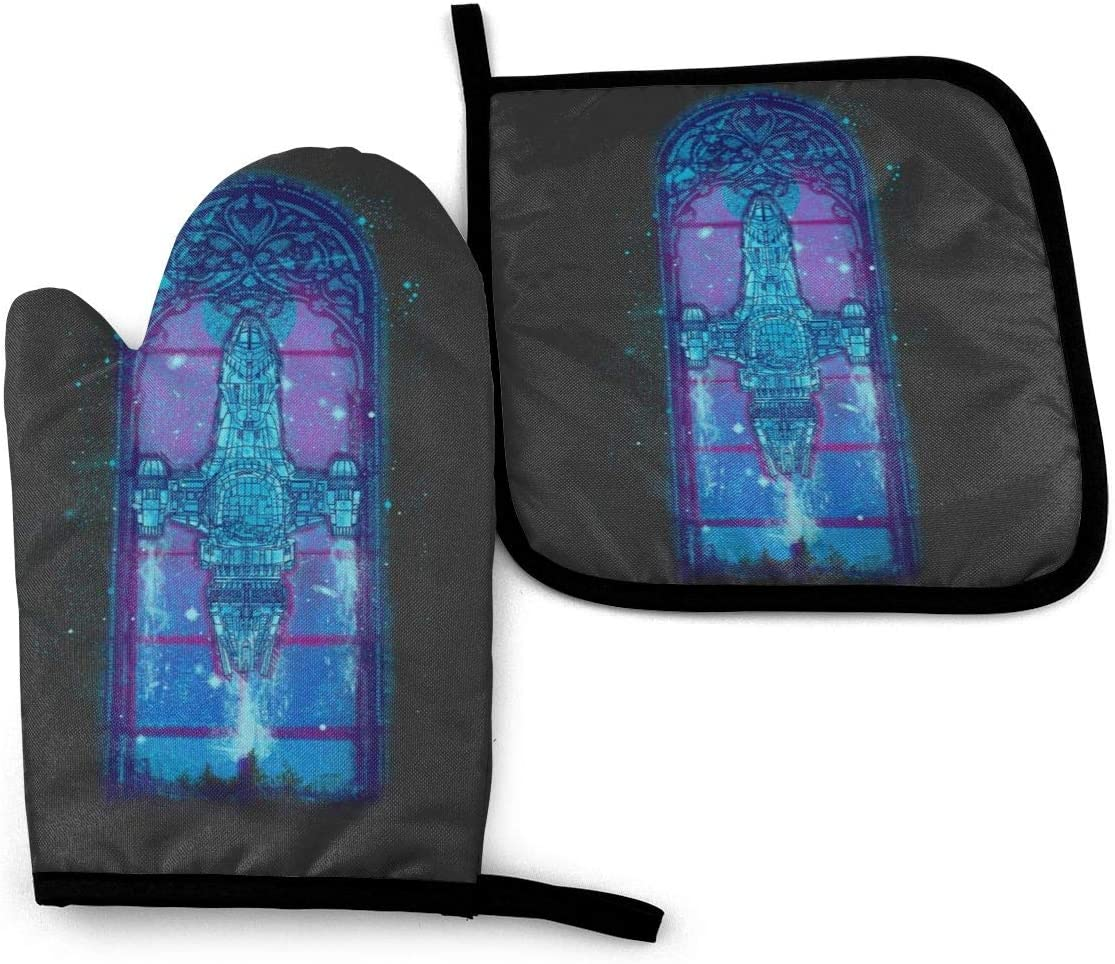 SDFDFGD Serenity Mosaica Firefly -Oven Mitts and Pot Holders Heat Resistant Kitchen Bake Gloves Cooking Gloves