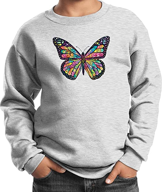 5bd5c362 Kids Neon Butterfly Youth Sweatshirt, Ash, Small. Roll over image to zoom  in. Buy Cool Shirts