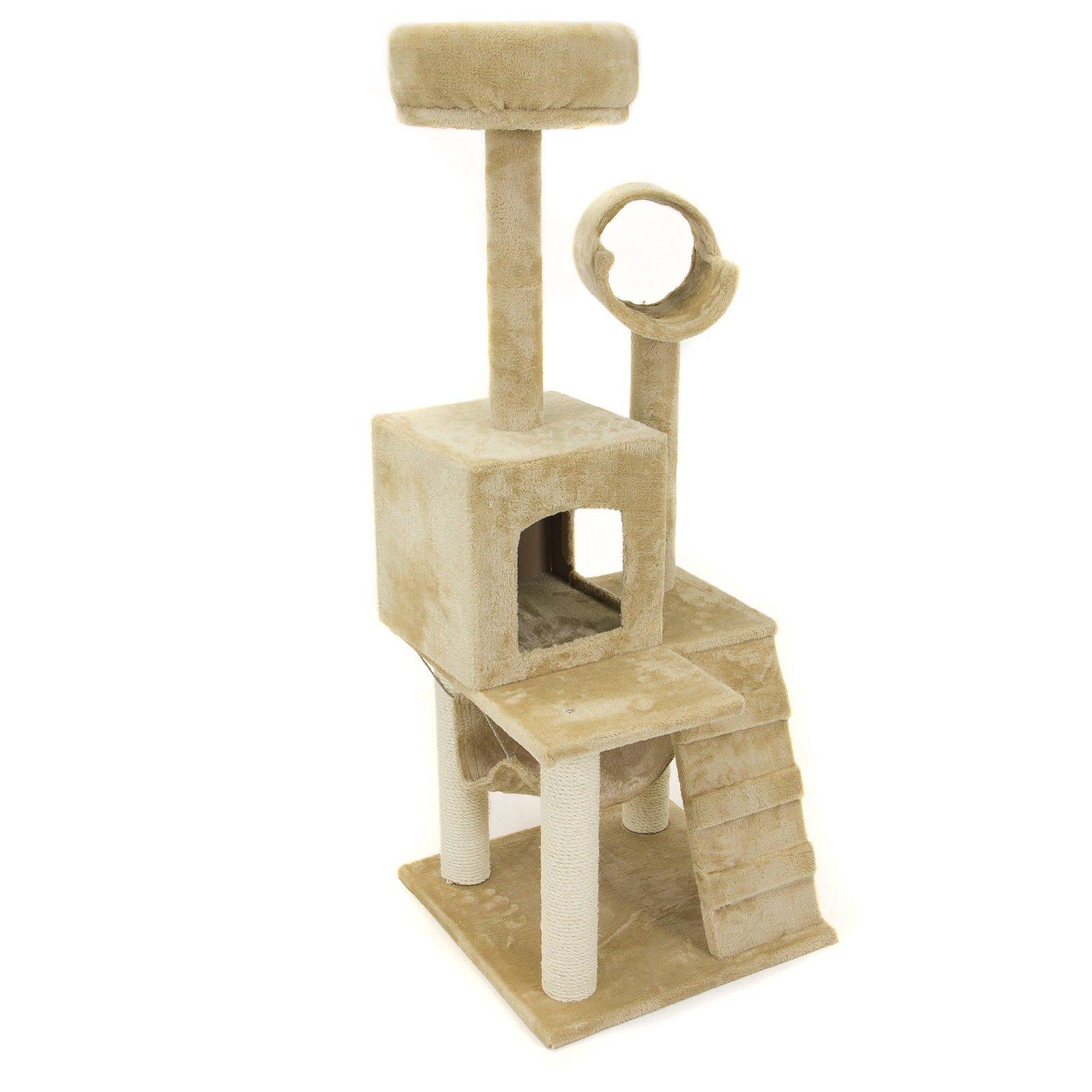 Deluxe 52'' Cat Tree Tower Condo Scratcher Furniture Kitten House Hammock