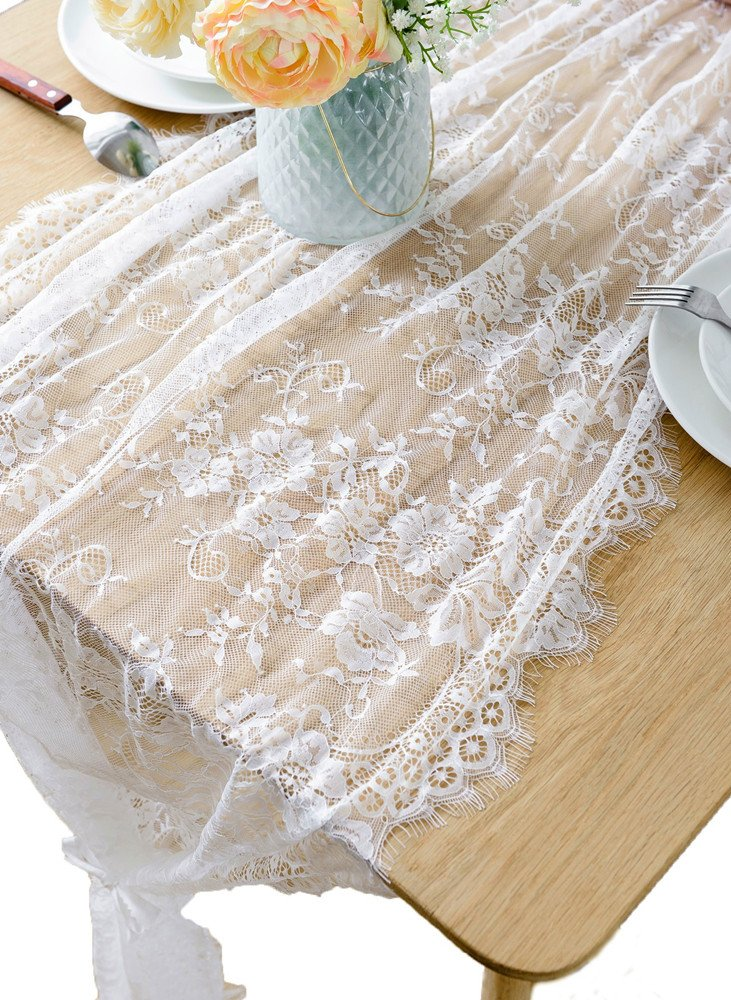 BOXAN 30x120 Inch White Classy Lace Table Runner/Overlay with Rose Vintage Embroidered, Rustic Boho Wedding Reception Table Decor, Fall Thanksgiving Christmas Baby & Bridal Shower Party Decoration by BOXAN (Image #3)
