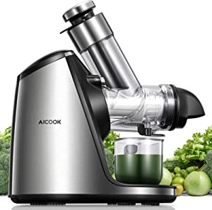 Juicer Machines, Aicook Slow Masticating Juicer Extractor 200W with 3in Large Feed Chute, Ceramic Auger Makes High Nutritive Fruit&Vegetable Juice, Easy to Clean, Ice Cream ACC&Juice Recipes Included