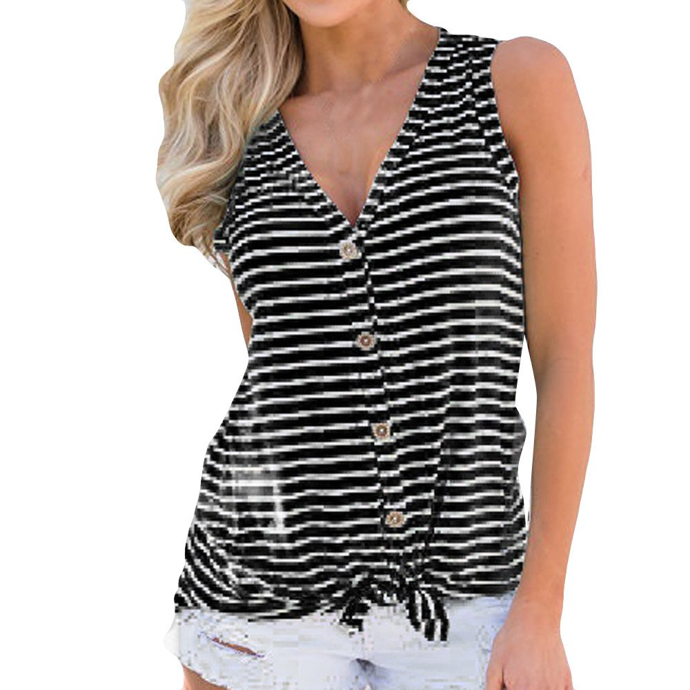 CHIDY Womens Casual Daily Wild V-Neck Button Stripe Cotton Vest Top Fashion Sleeveless T-Shirt Summer Blouse Black