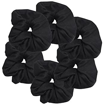 Amazon 6 Pack Large Solid Scrunchies Hair Elastics Black Beauty