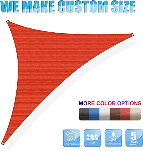Amgo Custom Size Right Triangle 15 x 24 x 28.3 Red Triangle Sun Shade Sail ATAPRT24 Canopy Awning, 95 UV Blockage, Water Air Permeable, Commercial and Residential Available for Custom Sizes