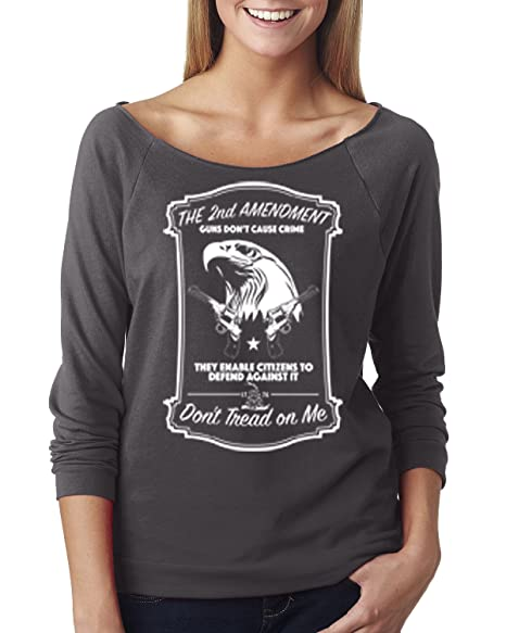 13866832fbfd1 2nd Amedment American Eagle Off Shoulder French Terry T-Shirt Dark Grey S