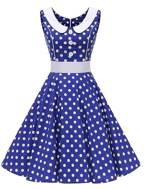 VKStar - Vestido - Cóctel - Cuadros - Redondo - Sin Mangas - para Mujer Azul