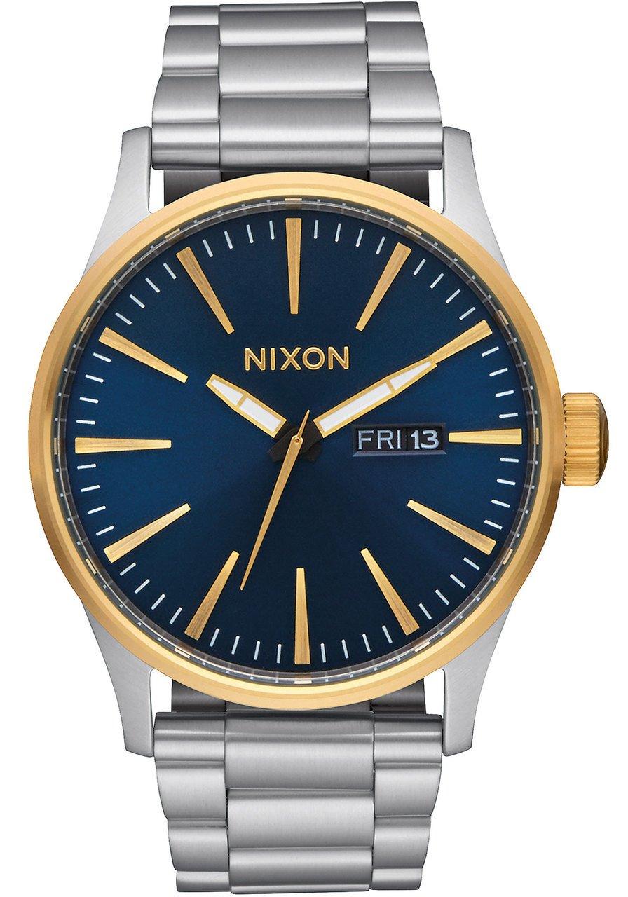 Nixon Men's Sentry SS 42 mm Watch in Gold/Blue Sunray