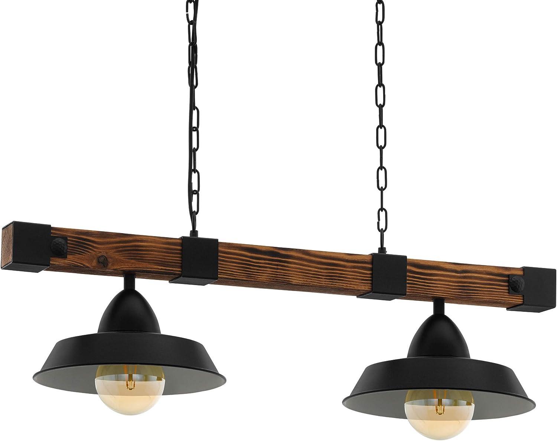 Lámpara colgante EGLO OLDBURY, lámpara colgante vintage con 2 bombillas de estilo industrial, lámpara colgada de acero y madera, color: negro, marrón ...