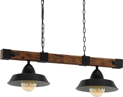 EGLO Pendellampe Oldbury, 2 flammige Vintage Pendelleuchte im Industrial Design, Hängelampe aus Stahl und Holz, Farbe: schwarz, braun rustikal,