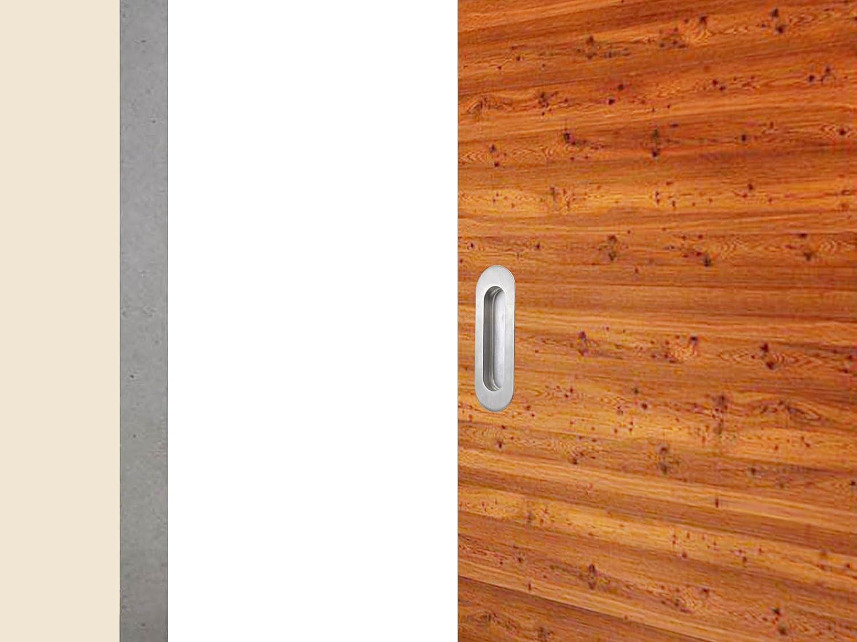 TMS mango madera puerta corredera de acero inoxidable Oval Flush empotrada Tire Hardware parte: Amazon.es: Bricolaje y herramientas
