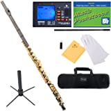 Mendini MFE-380BNG Intermediate Open/Closed-Hole Black Nickel Plated C Flute w/ B Foot Joint + 1 Yr Warranty, Case, Chromatic Tuner w/ Metronome, Stand, Pocketbook, Cleaning Rod & Cloth, Joint Grease, & a Pair of Gloves
