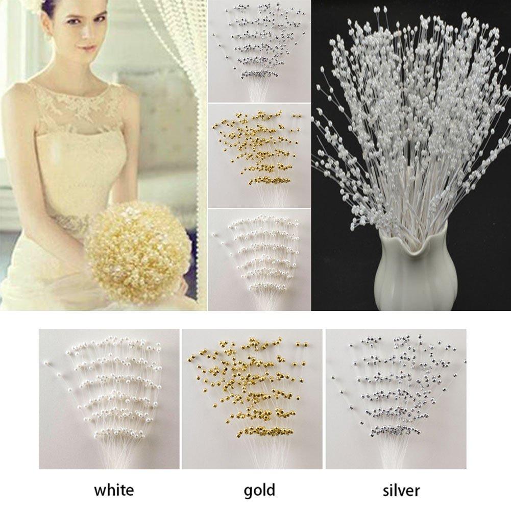 Getit72 10 Weisse Stiele Perlen Rosen Perlen Spray Hochzeit Bouquet