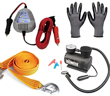 Break Down Kit - Aro de Arranque de Coche a Coche + Compresor de Aire + Correa de Cuerda de Remolque + Guantes de Trabajo: Amazon.es: Coche y moto