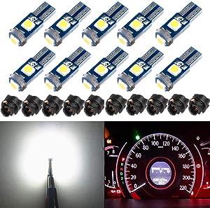 BlyilyB 10-Pack T5 37 74 LED Bulb With Twist Lock Socket PC74 PC37 Dashboard Instrument Panel Gauge Cluster Light