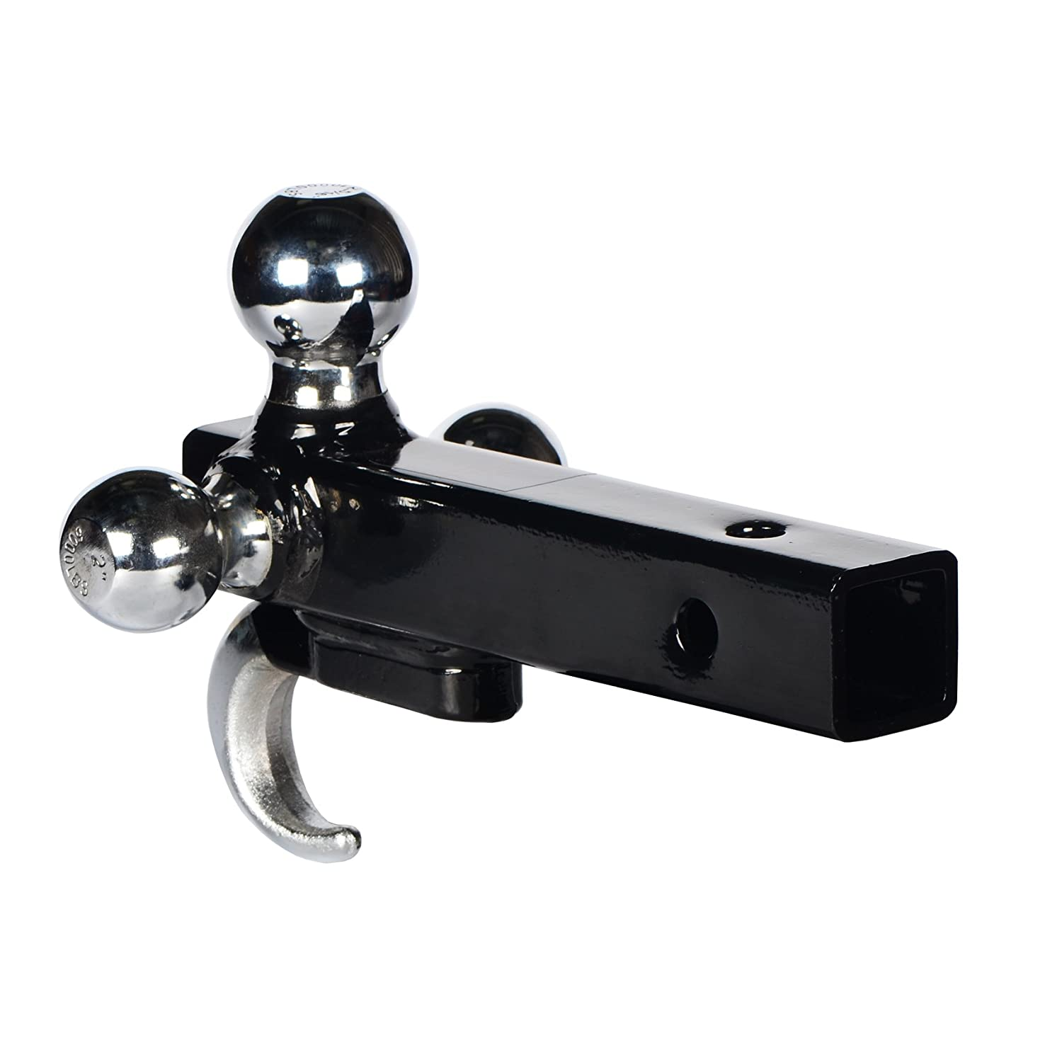 EASTOW LY814 Trailer Hitch Tri-Ball Mount with Hook,(1-7/8', 2'& 2-5/16'), 2' Receiver, Hollow Shank, Chrome Plated Balls,2000Lb, 6000lb, 10.000lb Capacity (1-7/8 2& 2-5/16) 2 Receiver