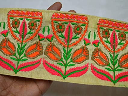 42quot Embellishment Indian Fabric Trim By 9 Yard Home Decor Brown Embroidery Designer Trims On