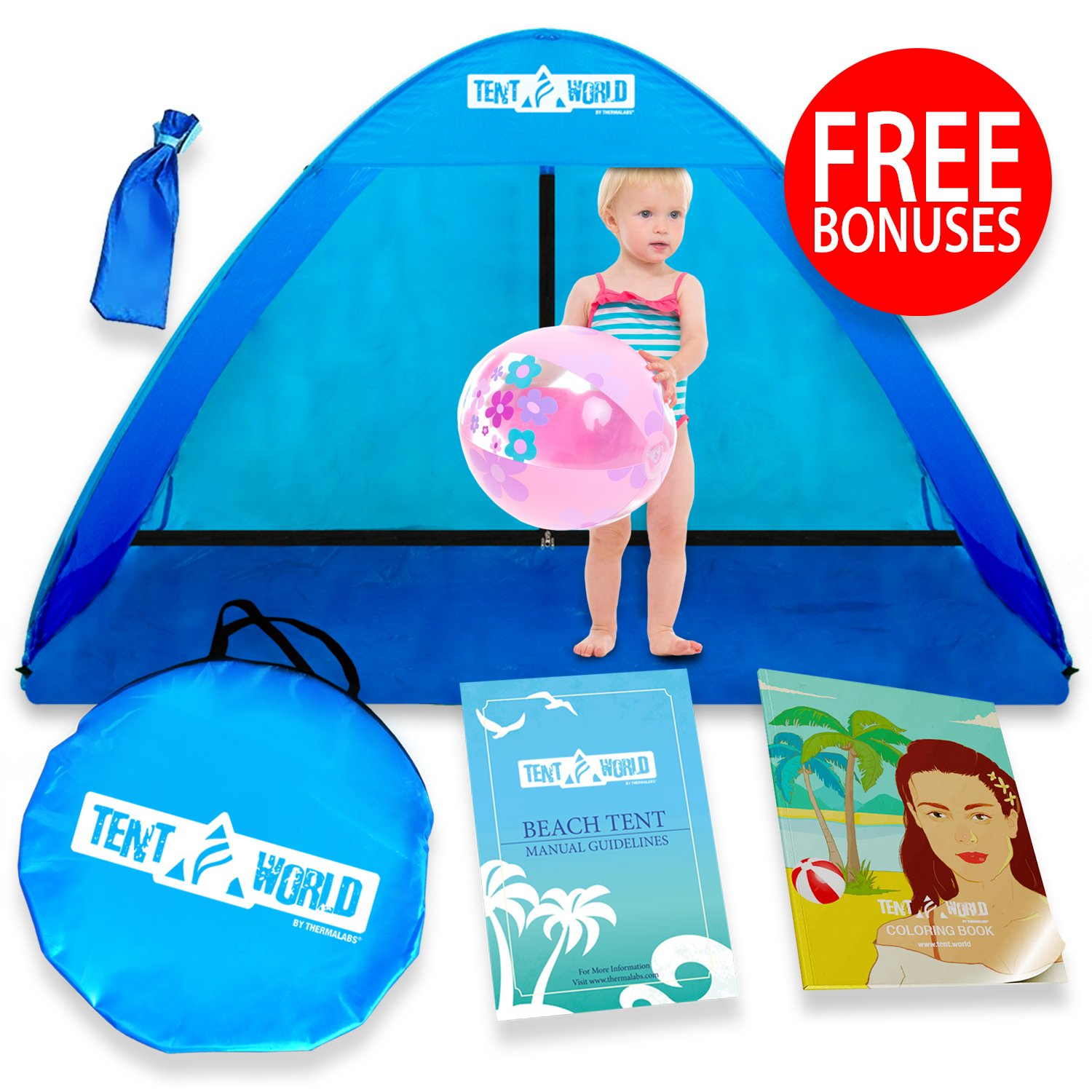 Mercury Anti UV Popup Beach Tent: Get a Shelter in a Breeze! Sun Shade Cabana Shelter with Carry Bag, Accessories and Bonuses sunshade TRML-TNT