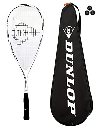 Dunlop Max Lite - Raqueta de squash (titanio, 3 pelotas de squash y funda