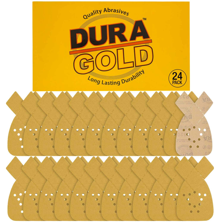 Dura-Gold - Premium Hook & Loop - 24 Sheets of 320 Grit 12-Hole Hook & Loop Sanding Sheets for Mouse Sanders - Box of 24 Sheets fits Black and Decker mouse sanders
