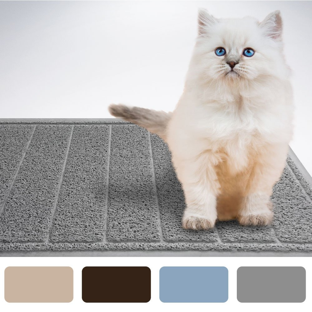 LITTER SHIELD Extra Large Premium Modern Cat Litter Mat 35x23 Phthalate Free Traps Litter from Cats Box Best Scatter Control Durable Easy to Clean Mats Soft on Kitty Paws
