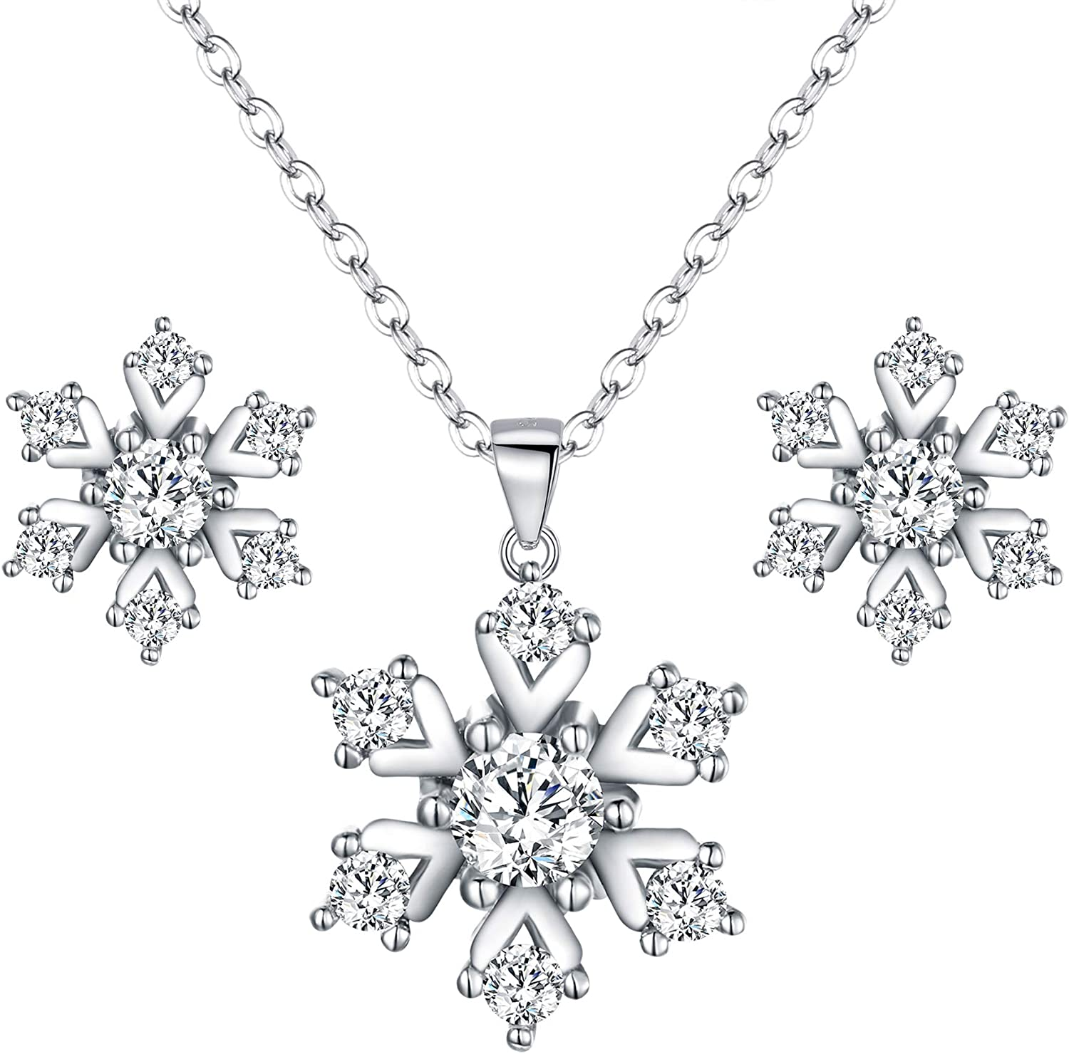 Snowflake Pendant Necklace,Haluoo 925 Sterling Silver Pendant Necklace Women Delicate Rhinestone Snowflake Pendant Chain Dainty Cubic Zirconia Romantic Lewelry Gift Xmas Gifts