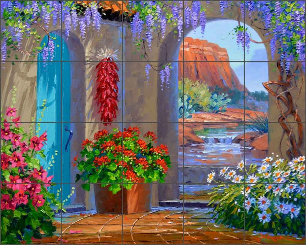 Ceramic Tile Mural Backsplash - Courtyard Landscape - Whispers of Sedona by Mikki Senkarik - Kitchen Bathroom Shower (21.25'' x 17'' - 4.25'' tiles)