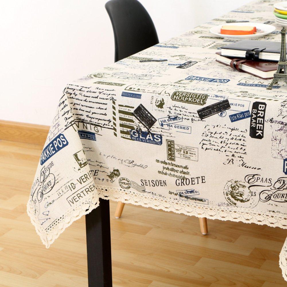 Manteles de lino de algodón vintage,Cubierta de tabla tabla tabla de periódico campo estilo británico van para el fondo de la foto mesa de comedor teapoy restaurante cocina picnic mesa-C 130x180cm(51x71inch) a0b5e1