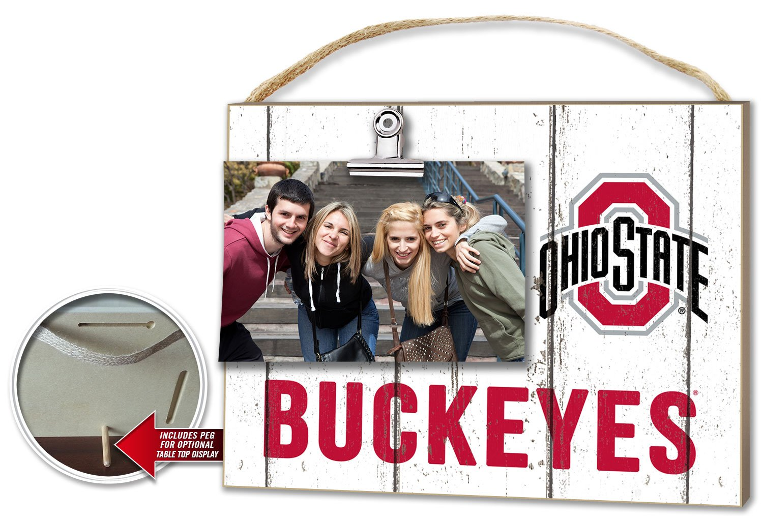 Kindred Hearts NCAA Ohio State Buckeyes Weathered Logo Clip-It Photo Frame by Kindred Hearts