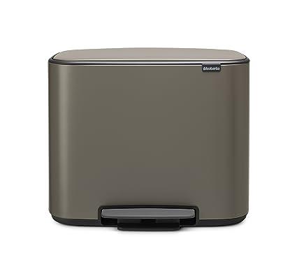 Brabantia Bo Pedal - Cubo de basura, Acero Inoxidable, 2 cubos interiores , Platinum, 11 + 23 litros