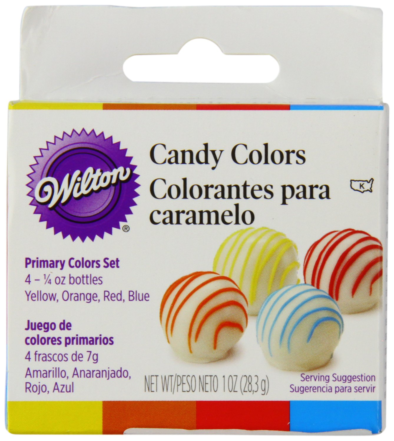 amazoncom wilton primary candy color set white candy melts kitchen dining - Colorant Wilton Gel