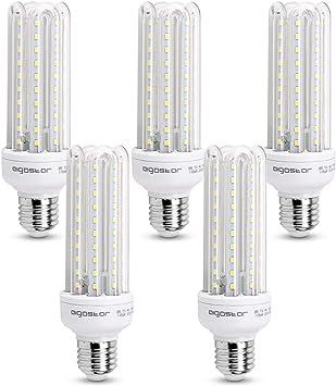 Aigostar - Bombilla LED B5 T3 4U, E27,15W, Ángulo 360°, Luz Blanca Fría 6400K, 1200 lúmenes, no regulable -Pack de 5: Amazon.es: Hogar