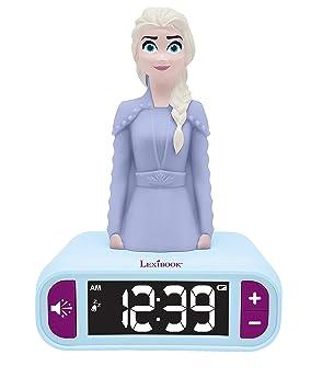 LEXIBOOK- Disney Frozen 2 Elsa-Reloj Despertador con Pantalla LCD Digital y luz de Noche integrada, quitamiedos niña, Multicolor, Talla Única ...