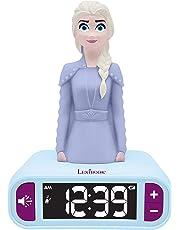 Lexibook Disney Frozen 2 Elsa-Reloj Despertador con Pantalla LCD Digital y luz de Noche integrada, quitamiedos niña RL800FZ, Color