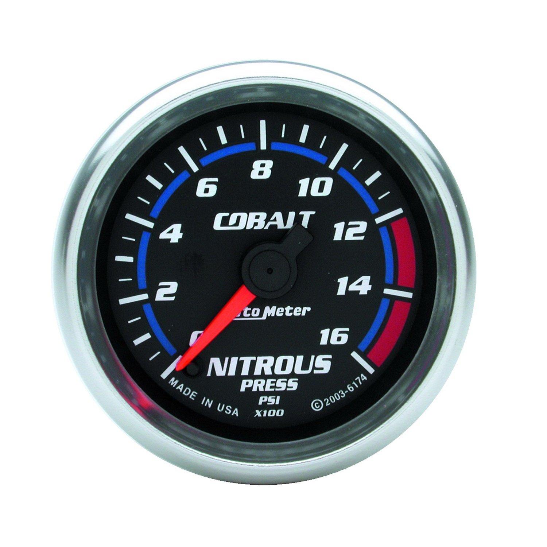 Auto Meter 6174 Cobalt 2-1/16'' 0-1600 PSI Full Sweep Electric Nitrous Pressure Gauge