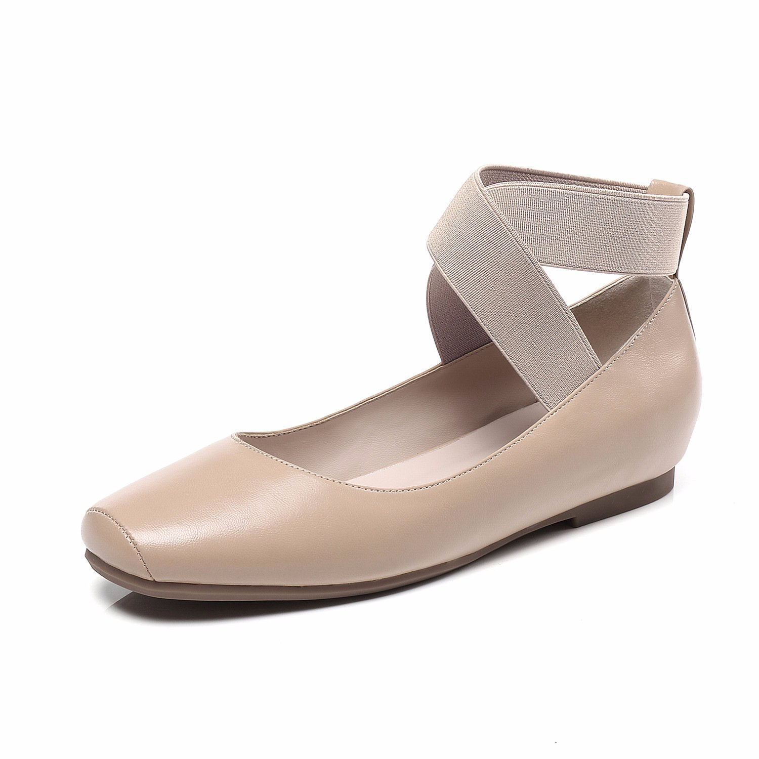 100FIXEO Nude Women's Square Toe Elastic Cross Ankle Strap Ballet Flats Size 7 (B) M US