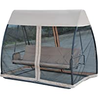 Outsunny 3 Person Covered Outdoor Swing Chair Lounger Bed Garden Hammock and Bed with Heavy-Duty Stand, Canopy and Mesh Side Walls, Latte Coffee