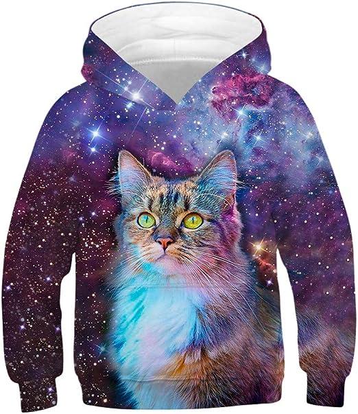 Mealeaf Kids Boys Girls Hoodies Sweatshirt 3D Galaxy Fleece Print Cartoon Hooded Coat Tops Clothes 4-13 Years