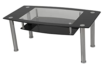 AVF T12 A Black Glass U0026 Chrome Coffee Table