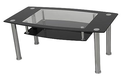 AVF T12 A Black Glass U0026 Chrome Coffee Table
