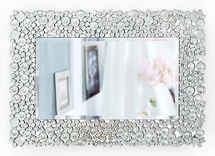 RICHTOP Espejo de pared - Rectangular Crystal Jewel Mosaic Espejo montado en la pared para sala