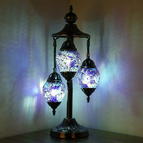 Marrakech 3 Globe Turkish Table Lamp Tiffany Style Mosaic Glass Moroccan Lantern Bedside Light for Living Room Bedroom 2