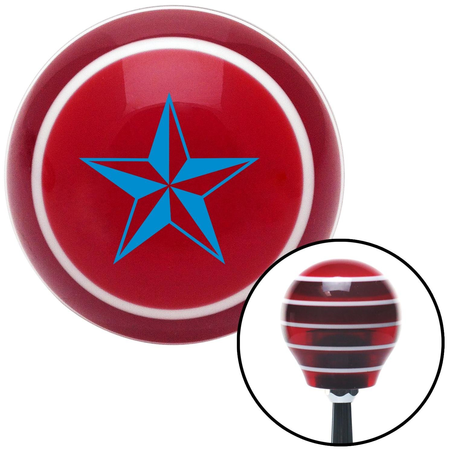 Blue 5 Point 3-D Star American Shifter 118888 Red Stripe Shift Knob with M16 x 1.5 Insert